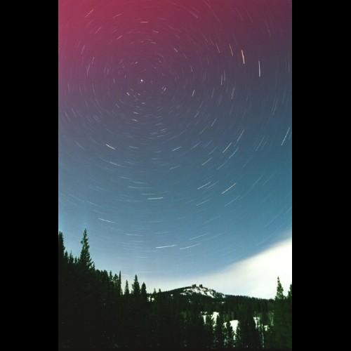 Polar Star Trails and Aurora Over Rabbit Ears Peak