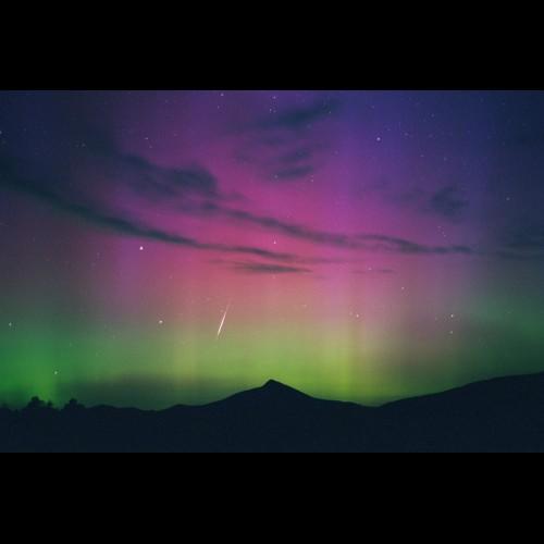 Perseid Meteor and Aurora Over Hahn's Peak #2